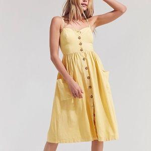 UO Linen Button-Down Midi Dress